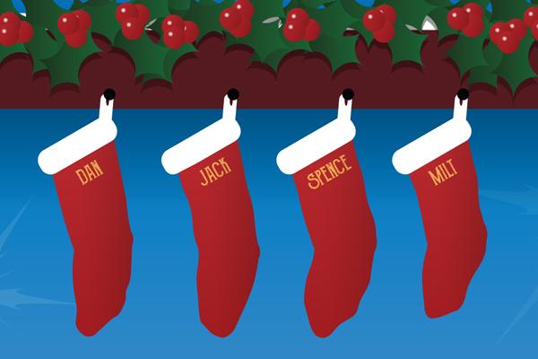 """Barbershop Christmas"" - 4"" x 6"" Card, Detail"