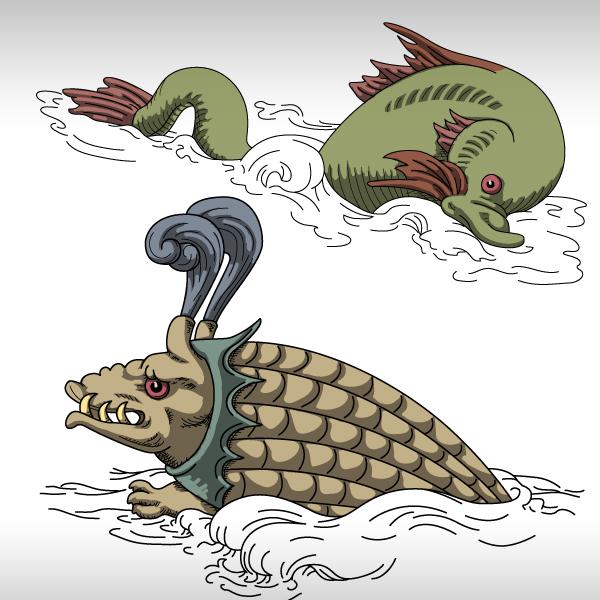 Medieval Game - Conceptual Artwork - Sea Monsters